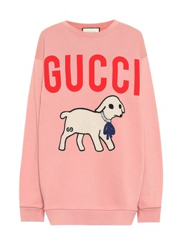 appliquéd-logo-cotton-sweatshirt by gucci