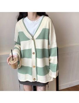 maisee---striped-v-neck-cardigan by maisee