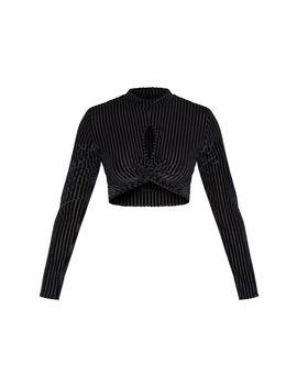 black-velvet-rib-twist-front-long-sleeve-crop-top- by prettylittlething