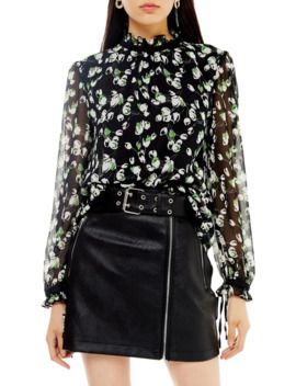 sheer-tulip-piecrust-blouse by topshop