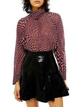 checkboard-cowl-blouse by topshop