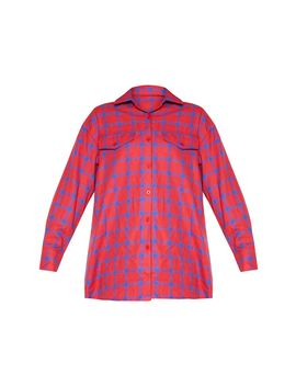 red-check-oversized-shirt by prettylittlething