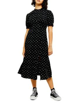 petite-conversational-midi-dress by topshop