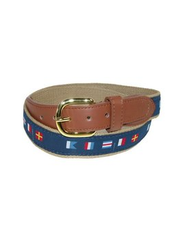 ctm--woven-fabric-belt-with-nautical-signal-flags-ribbon-overlay-(mens) by ctm