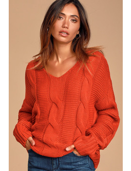 new-possibilities-red-orange-cable-knit-sweater by lulus