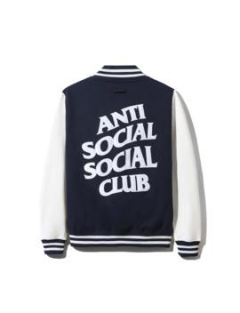 anti-social-social-club-dropout-white_navy-letterman-jacket-assc-ds-brand-new-ss19 by anti-social-social-club  ×