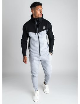 Gk Koen Tracksuit Top   Grey Marl/Black by The Gym King