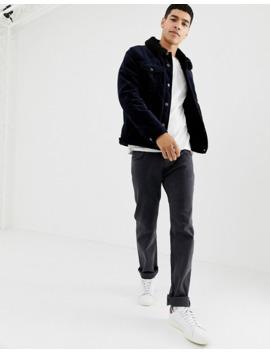 asos-design---veste-style-western-en-velours-côtelé-avec-doublure-en-imitation-peau-de-mouton---noir by asos-design