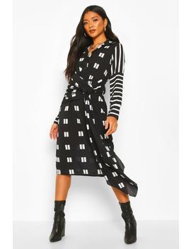 mix-print-knot-midi-dress by boohoo