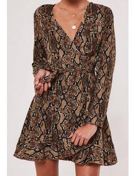 brown-snake-print-ruffle-hem-tea-dress by missguided