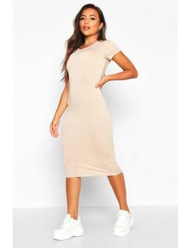 petite-basic-cap-sleeve-midi-dress by boohoo