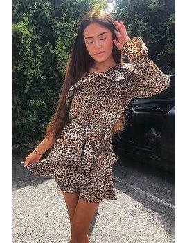 leopard-ruffle-one-shoulder-belted-dress---kali by rebellious-fashion