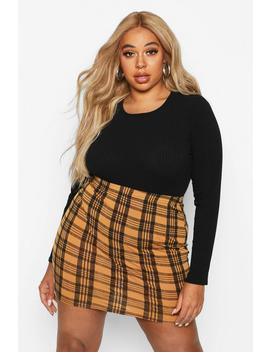 plus-checked-mini-skirt by boohoo