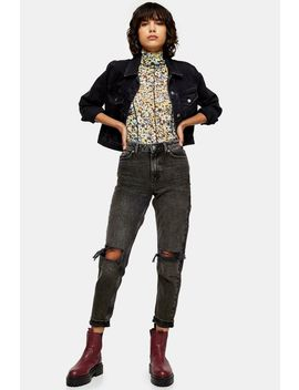 washed-black-double-rip-mom-jeans by topshop