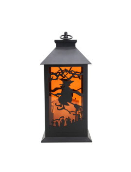 "12""-witch-with-broom-led-lantern-by-ashland by ashland"