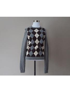 wool-sweater-medium-j-crew-argyle--pullover-gray-blue-long-sleeved-crew-neck-vintage-apparel by etsy