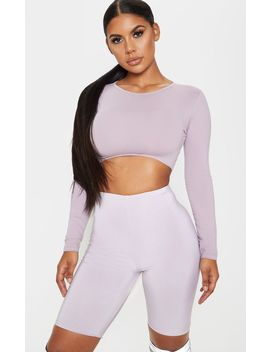 dusty-lilac-slinky-longline-cycle-short by prettylittlething