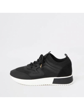 black-rubber-panel-cleated-runner-trainers by river-island
