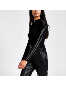 black-studded-high-neck-ribbed-t-shirt by river-island