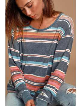 arielle-washed-navy-blue-multi-striped-long-sleeve-top by free-people