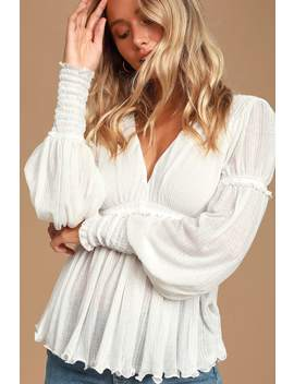 day-dreaming-white-ruffled-balloon-sleeve-top by free-people