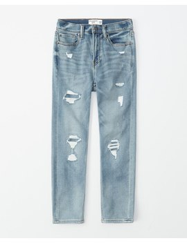 ripped-taper-jeans by abercrombie-&-fitch