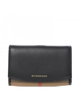 burberry-grainy-calfskin-house-check-wellington-wallet-mahogany-black by burberry