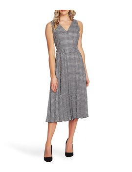 sleeveless-glen-plaid-belted-pleated-midi-dress by vince-camuto