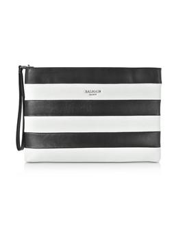 Mariniere Stripe Leather Clutch by Balmain