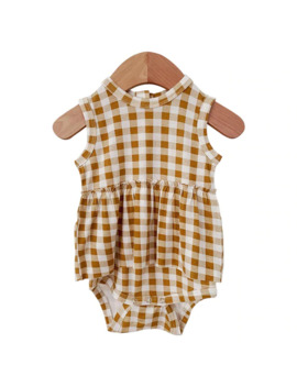 Sleeveless Skirted Bodysuit, Ochre Gingham by Spearmint Love