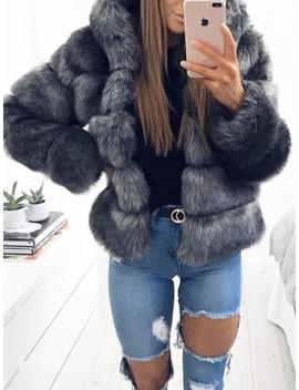 Dark Grey Fuzzy Faux Rabbit Fur Hooded Bubble Fur Coat Long Sleeve Casual Outerwear by Cichic