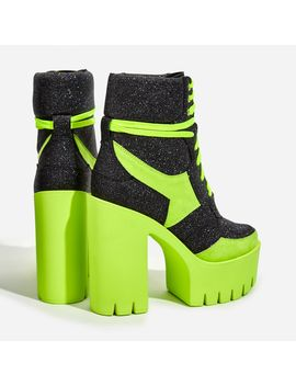 penni-platform-lace-up-cleated-sole-ankle-bike-boot-in-glitter-and-lime-faux-suede by ego