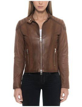 brown-padded-leather-womens-zip-front-jacket by forzieri