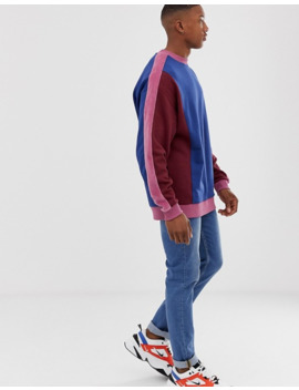 asos-design-oversized-sweatshirt-with-color-blocking-and-side-stripes by asos-design