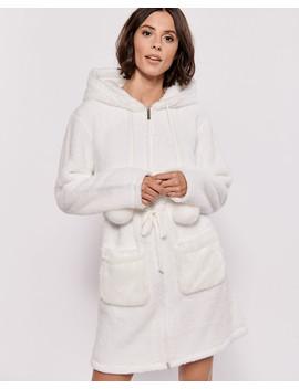 Hooded Zip Closure Robe by La Vie En Rose