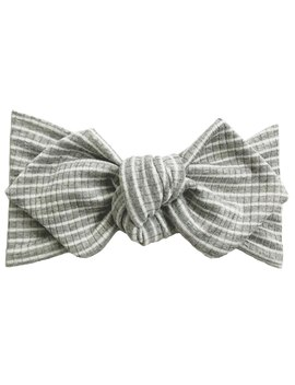 Top Knot Headband, Ribbed Grey/White Stripe by Spearmint Love