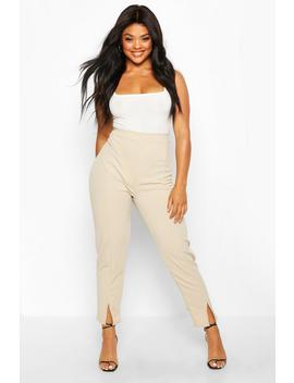 plus-seamed-front-split-high-waisted-trousers by boohoo