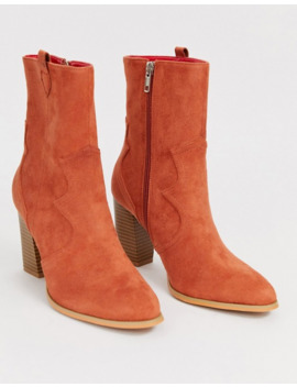 glamorous-rust-stacked-heel-ankle-boots by glamorous