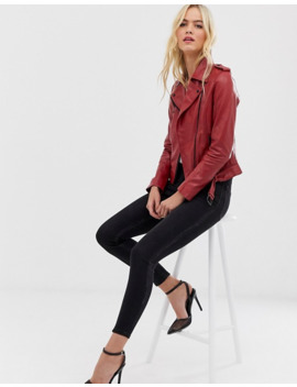barneys-originals-colored-leather-biker-jacket-in-red by asos
