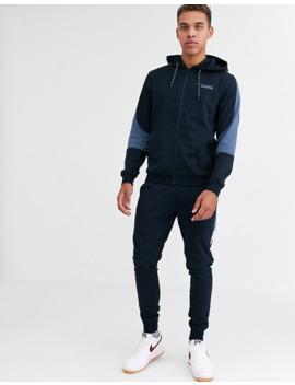jack-&-jones-core-cut-&-sew-zip-through-hoodie-in-navy by jack-&-jones