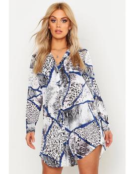 plus-snake-oversized-shirt-dress by boohoo