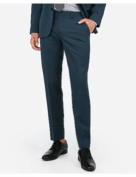 slim-dark-teal-wool-blend-stretch-oxford-suit-pant by express