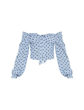 polka-dot-woven-bardot-cropped-blouse- by prettylittlething