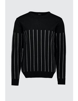 long-sleeve-knitted-jumper-with-contrast-pinstripe by boohoo
