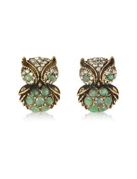 Green Owl Earrings W/Stones by Alcozer & J