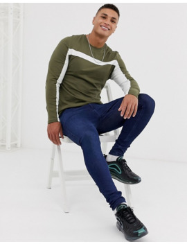 asos-design-long-sleeve-t-shirt-with-color-block-panels-in-green by asos-design