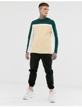 asos-design-long-sleeve-t-shirt-with-color-block-panels-in-beige by asos-design
