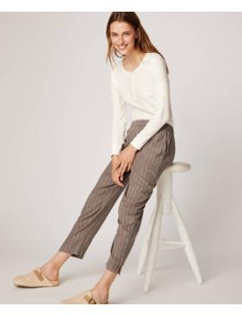 pantalón-gris-raya-diplomática-algodón by oysho