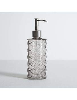 embossed-glass-grey-lotion-dispenser by dunelm