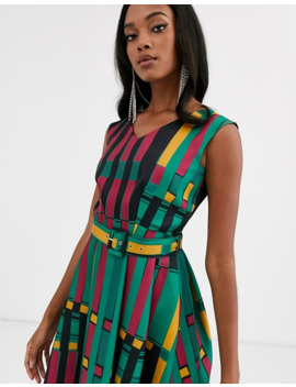 closet-london-belted-high-low-midi-dress-in-gold-multi by closet